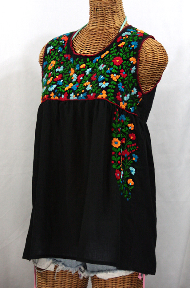 """""""La Sirena"""" Embroidered Mexican Style Peasant Top -Black + Fiesta Embroidery"""