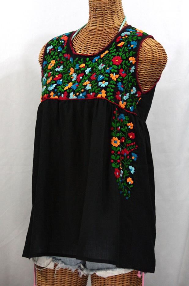 Quot la sirena embroidered mexican style peasant top black