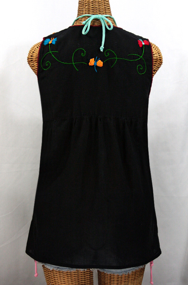 """La Sirena"" Embroidered Mexican Style Peasant Top -Black + Fiesta Embroidery"