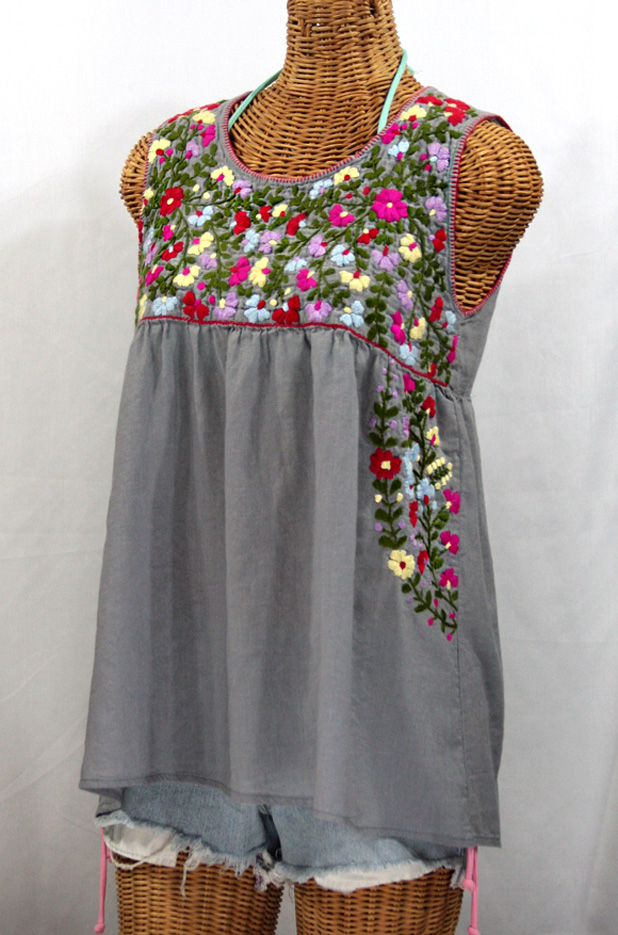 """La Sirena"" Sleeveless Mexican Blouse -Grey"