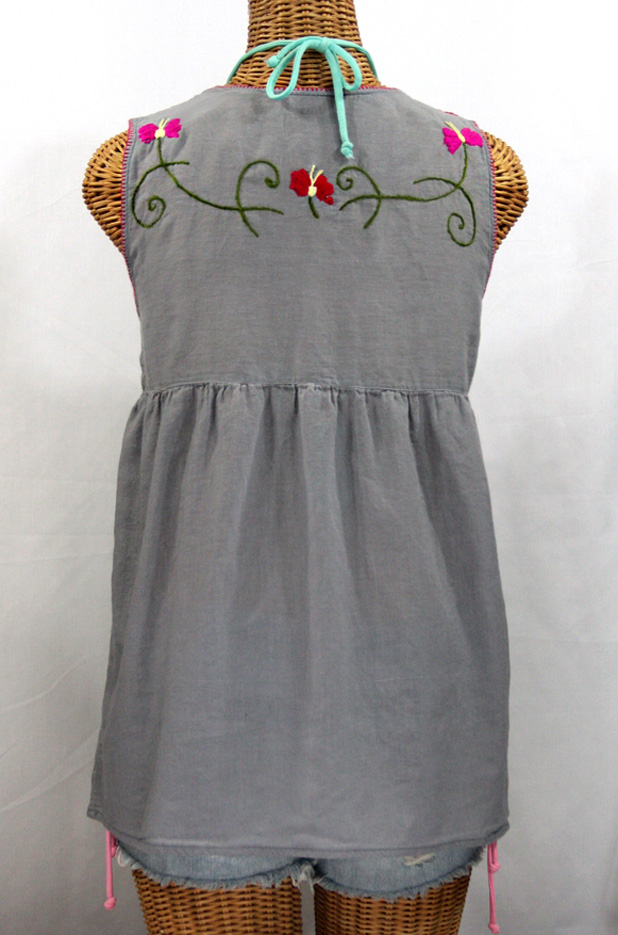 """La Sirena"" Sleeveless Mexican Blouse -Grey + Multi"