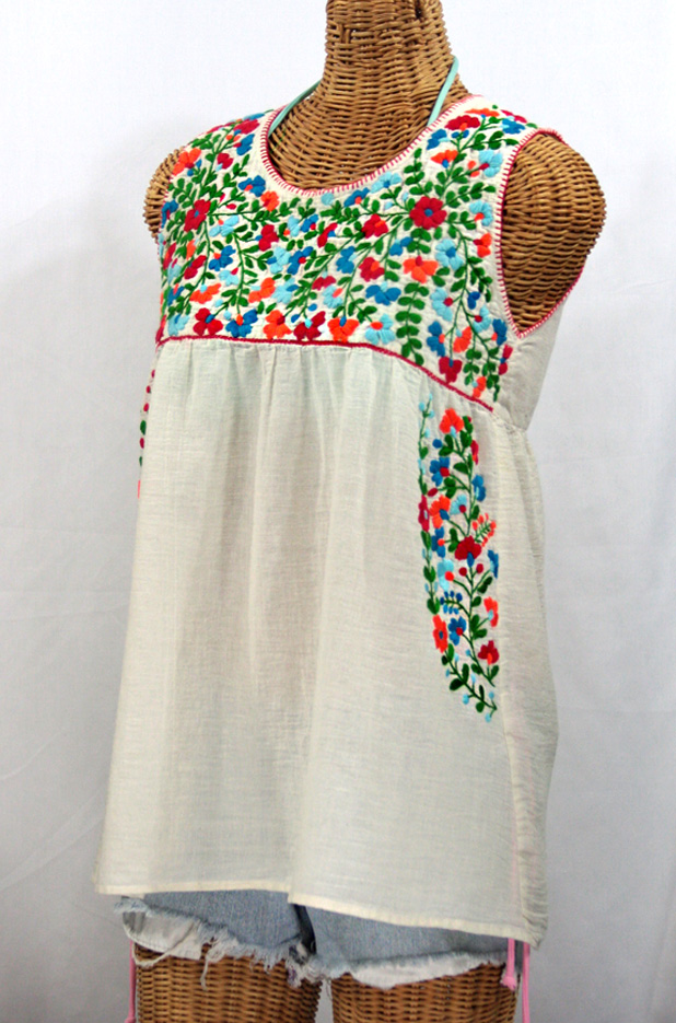 """La Sirena"" Sleeveless Mexican Blouse -Off White + Fiesta Embroidery"