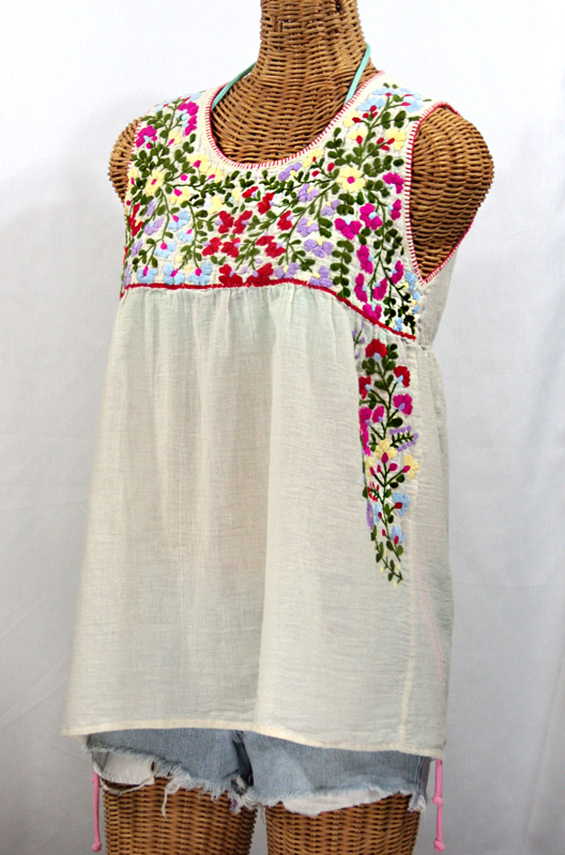 """La Sirena"" Embroidered Mexican Style Peasant Top -Off White"