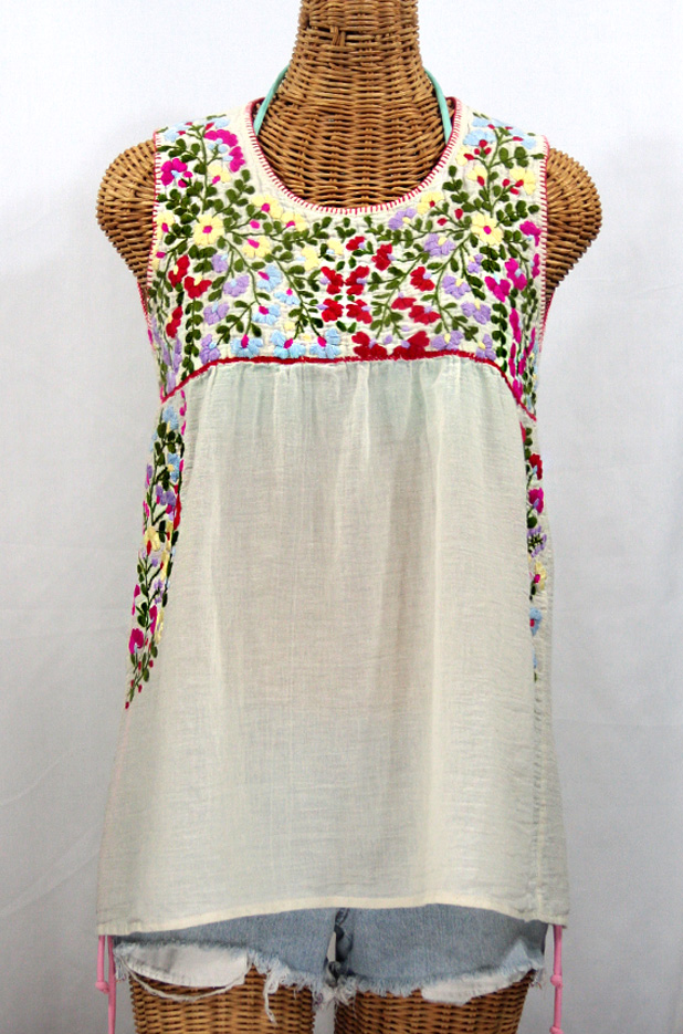 """La Sirena"" Embroidered Mexican Style Peasant Top -Off White + Multi"