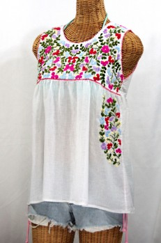 """La Sirena"" Sleeveless Mexican Blouse -White + Multi"