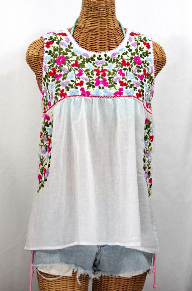 """""""La Sirena"""" Sleeveless Mexican Blouse -White"""