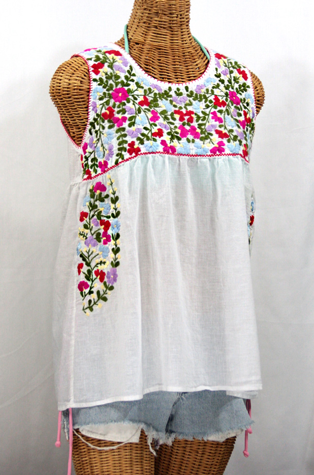 """""""La Sirena"""" Sleeveless Mexican Blouse -White + Multi"""