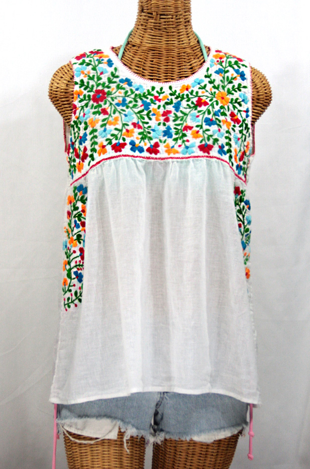 """La Sirena"" Sleeveless Mexican Blouse -White + Fiesta Embroidery"