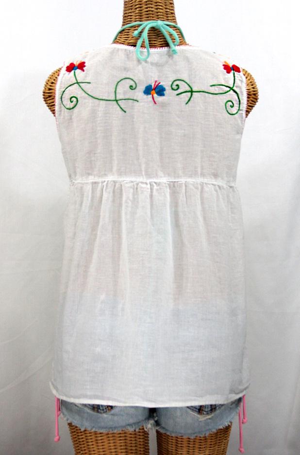 """La Sirena"" Sleeveless Mexican Blouse -White + Fiesta Embroidery"