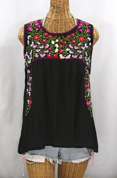 """La Sirena"" Embroidered Mexican Style Peasant Top -Black + Multi"