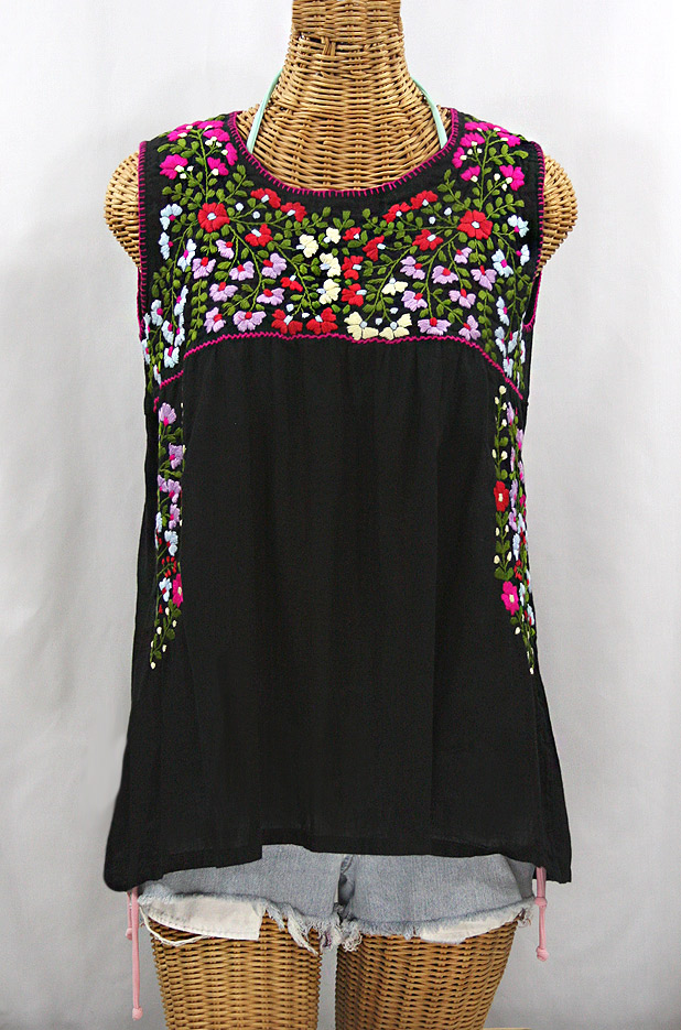 """La Sirena"" Embroidered Mexican Style Peasant Top -Black"