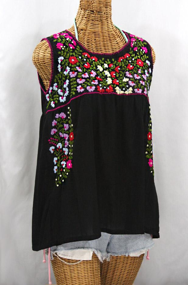 """La Sirena"" Embroidered Mexican Style Peasant Top -Black"