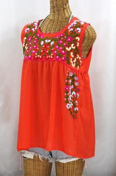 """La Sirena"" Sleeveless Mexican Blouse - Orange + Multi Embroidery"