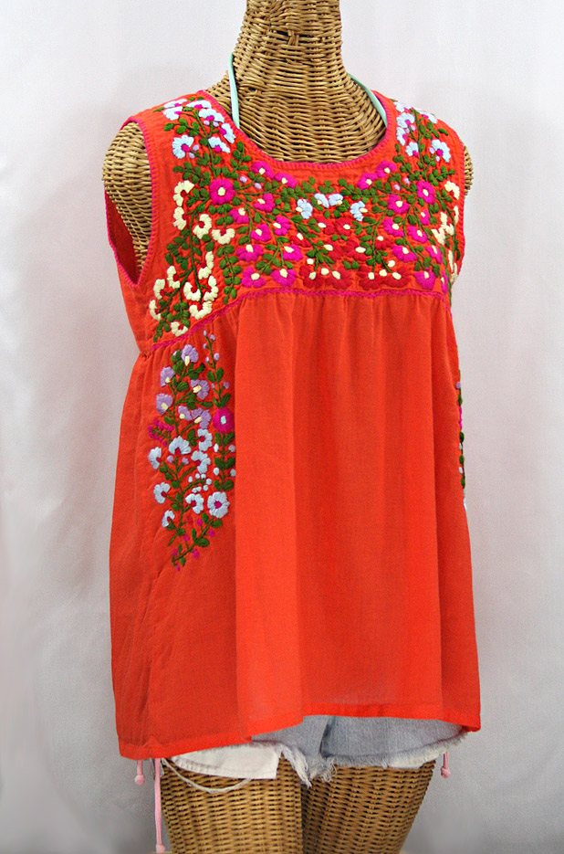 """La Sirena"" Sleeveless Mexican Blouse - Orange + Multi Embroidery"