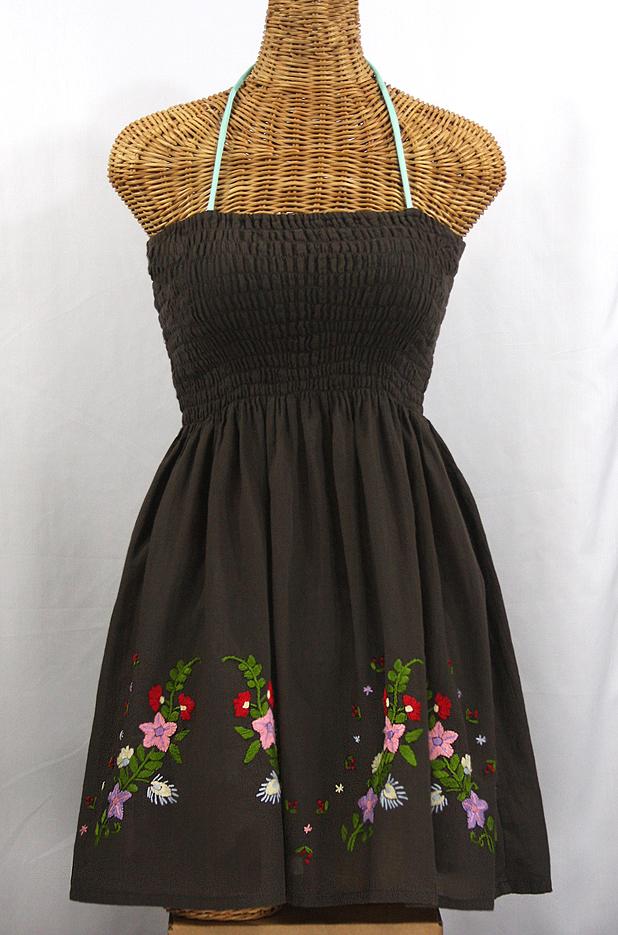 """La Solana"" Embroidered Peasant Sundress - Brown"