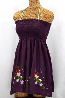 """La Solana"" Embroidered Peasant Sundress - Plum"