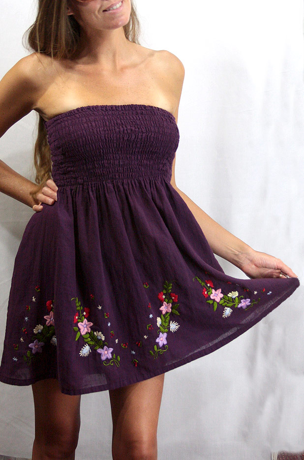 """La Solana"" Embroidered Peasant Sundress - Brown"