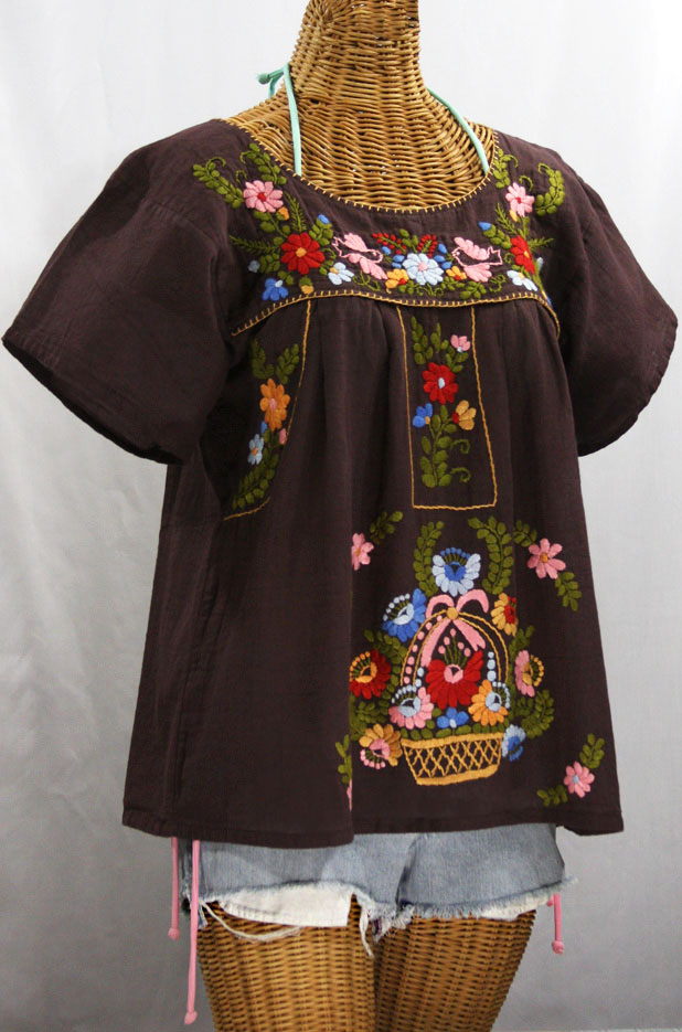 """""""La Valencia"""" Embroidered Mexican Style Peasant Top - Brown"""