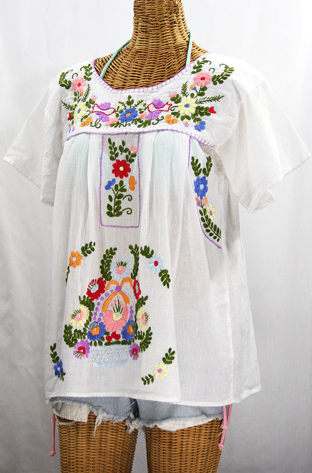 """La Valencia"" Embroidered Mexican Style Peasant Top - White"