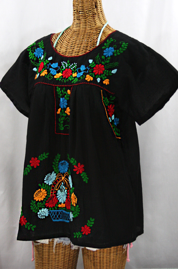 """La Valencia"" Embroidered Mexican Style Peasant Top - Black + Fiesta"