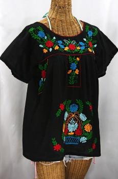 "Final Sale 40% Off -- ""La Valencia"" Embroidered Mexican Style Peasant Top - Black + Fiesta"