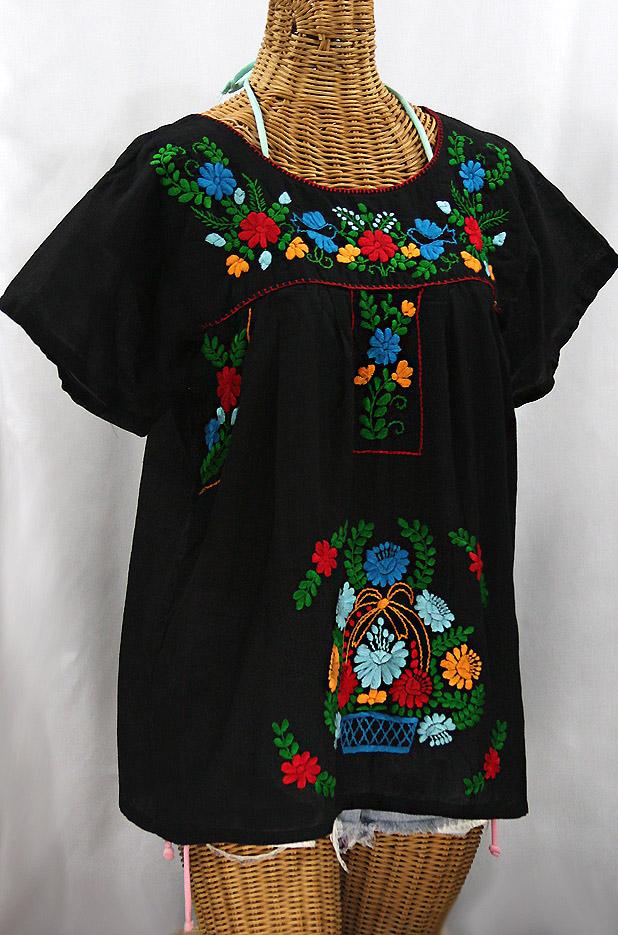 """""""La Valencia"""" Embroidered Mexican Style Peasant Top - Black + Fiesta"""
