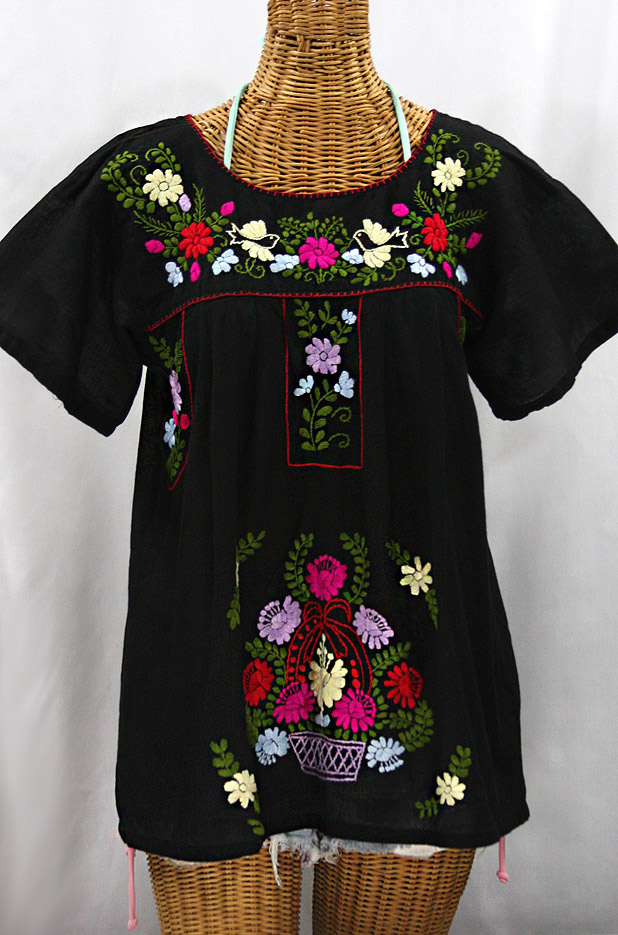"""""""La Valencia"""" Embroidered Mexican Style Peasant Top - Black + Multi"""