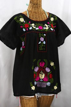"""La Valencia"" Embroidered Mexican Style Peasant Top - Black + Multi"