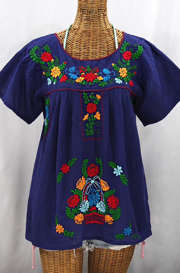 """""""La Valencia"""" Embroidered Mexican Style Peasant Top - Denim Blue + Fiesta"""