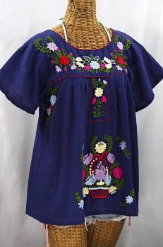 """""""La Valencia"""" Embroidered Mexican Style Peasant Top - Denim Blue + Multi"""