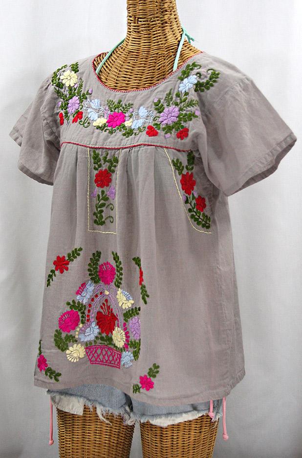 """""""La Valencia"""" Embroidered Mexican Style Peasant Top - Grey + Multi"""