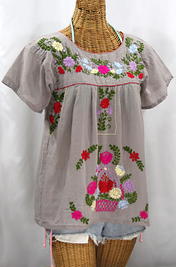 """La Valencia"" Embroidered Mexican Style Peasant Top - Grey + Multi"