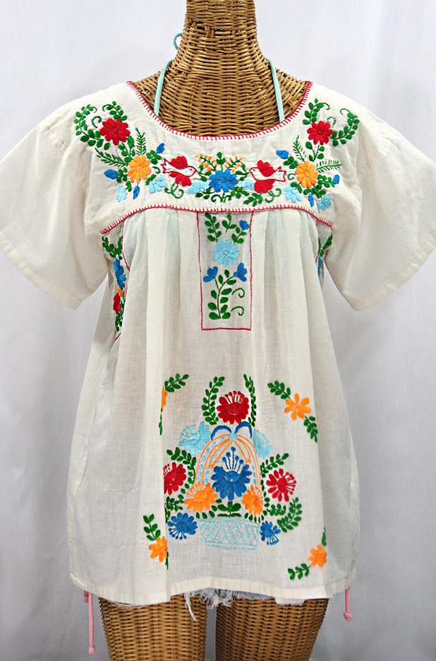 """La Valencia"" Embroidered Mexican Style Peasant Top - Off White + Fiesta"