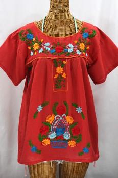"Final Sale 40% Off -- ""La Valencia"" Embroidered Mexican Style Peasant Top - Tomato Red + Fiesta"