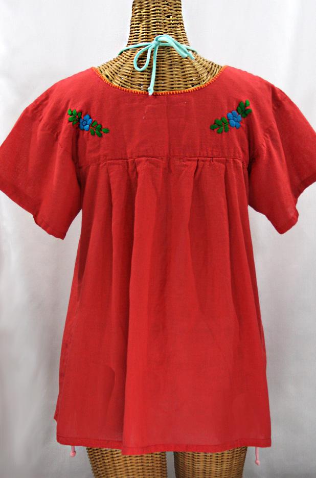 """""""La Valencia"""" Embroidered Mexican Style Peasant Top - Tomato Red + Fiesta"""
