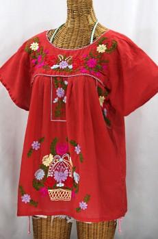 """""""La Valencia"""" Embroidered Mexican Style Peasant Top - Tomato Red + Multi"""