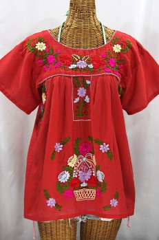 """Final Sale 40% Off -- """"La Valencia"""" Embroidered Mexican Style Peasant Top - Tomato Red + Multi"""