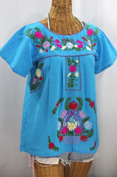 """La Valencia"" Embroidered Mexican Style Peasant Top -Aqua + Multi"
