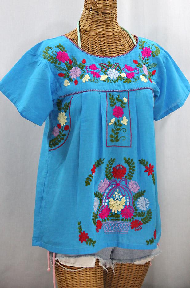 """""""La Valencia"""" Embroidered Mexican Style Peasant Top -Aqua + Multi"""