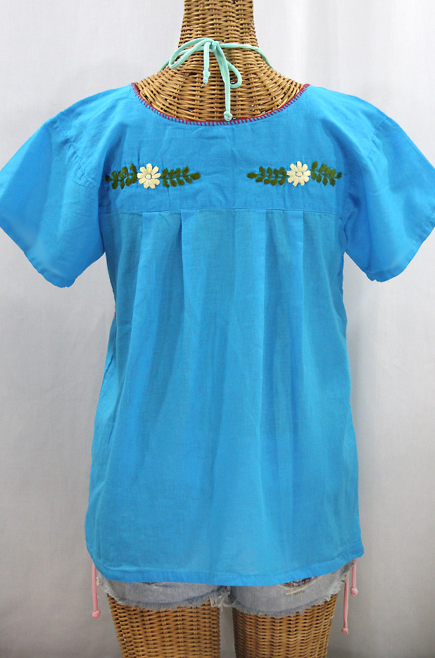 "Final Sale 40% Off -- ""La Valencia"" Embroidered Mexican Style Peasant Top -Aqua + Multi"