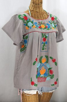 """La Valencia"" Embroidered Mexican Style Peasant Top - Grey + Fiesta"