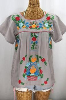 """La Valencia"" Embroidered Mexican Style Peasant Top - Grey + Fiesta"