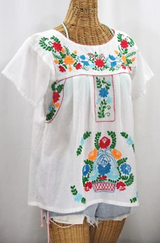"""La Valencia"" Embroidered Mexican Style Peasant Top - White + Fiesta"