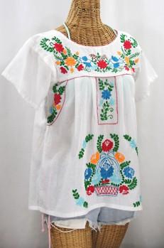 "FINAL SALE -- ""La Valencia"" Embroidered Mexican Style Peasant Top - White + Fiesta"