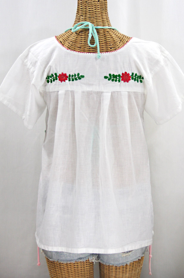 """""""La Valencia"""" Embroidered Mexican Style Peasant Top - White + Fiesta"""
