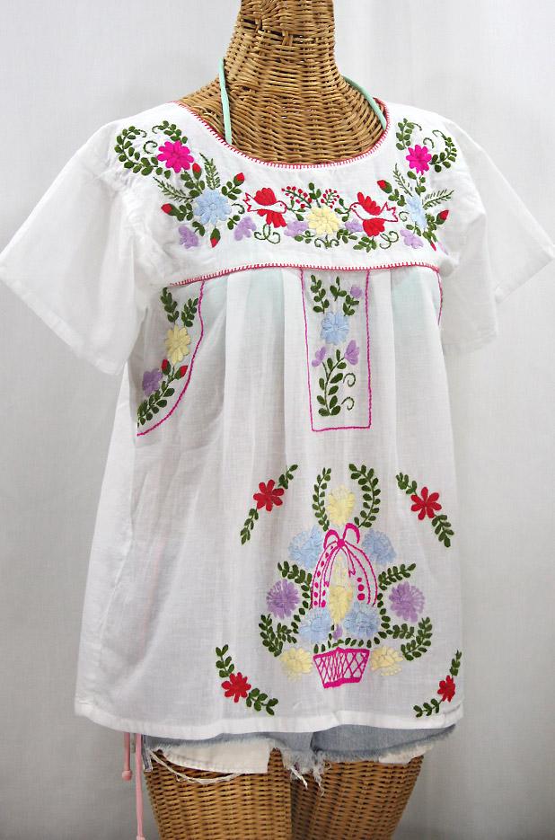 """""""La Valencia"""" Embroidered Mexican Style Peasant Top - White + Multi"""