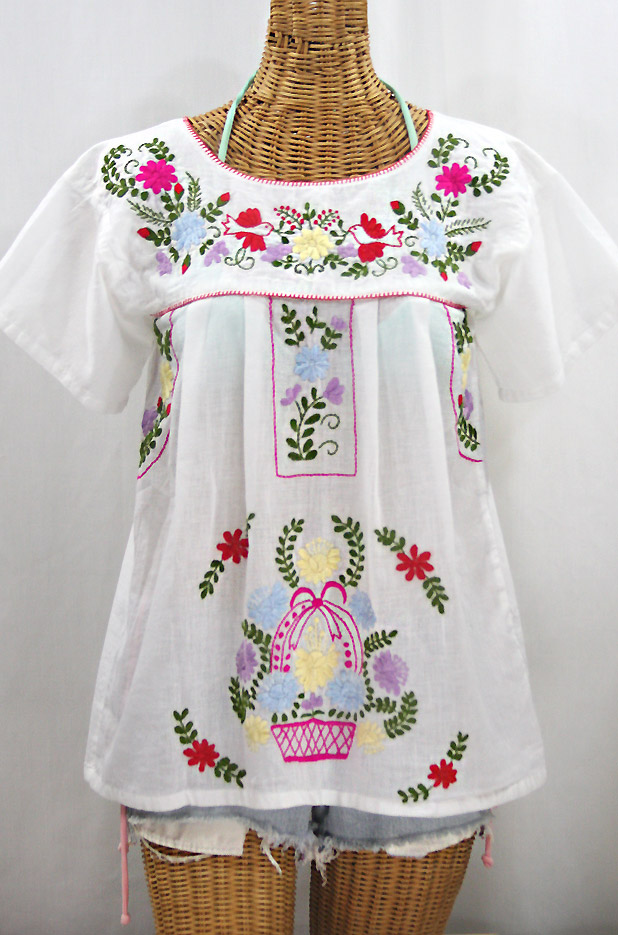 """""""La Valencia"""" Embroidered Mexican Style Peasant Top - White"""