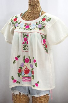 """La Valencia"" Embroidered Mexican Style Peasant Top - Off White + Multi"