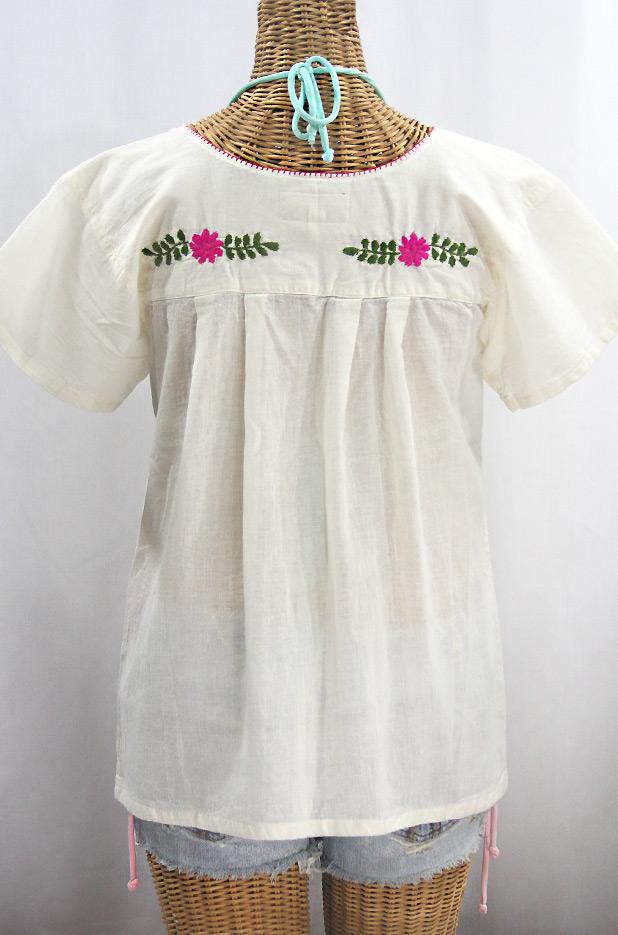 """""""La Valencia"""" Embroidered Mexican Style Peasant Top - Off White + Multi"""