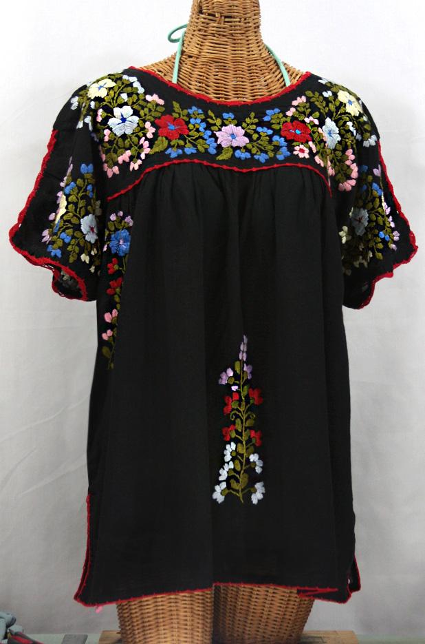 """Lijera Libre"" Plus Size Embroidered Mexican Blouse -Black"